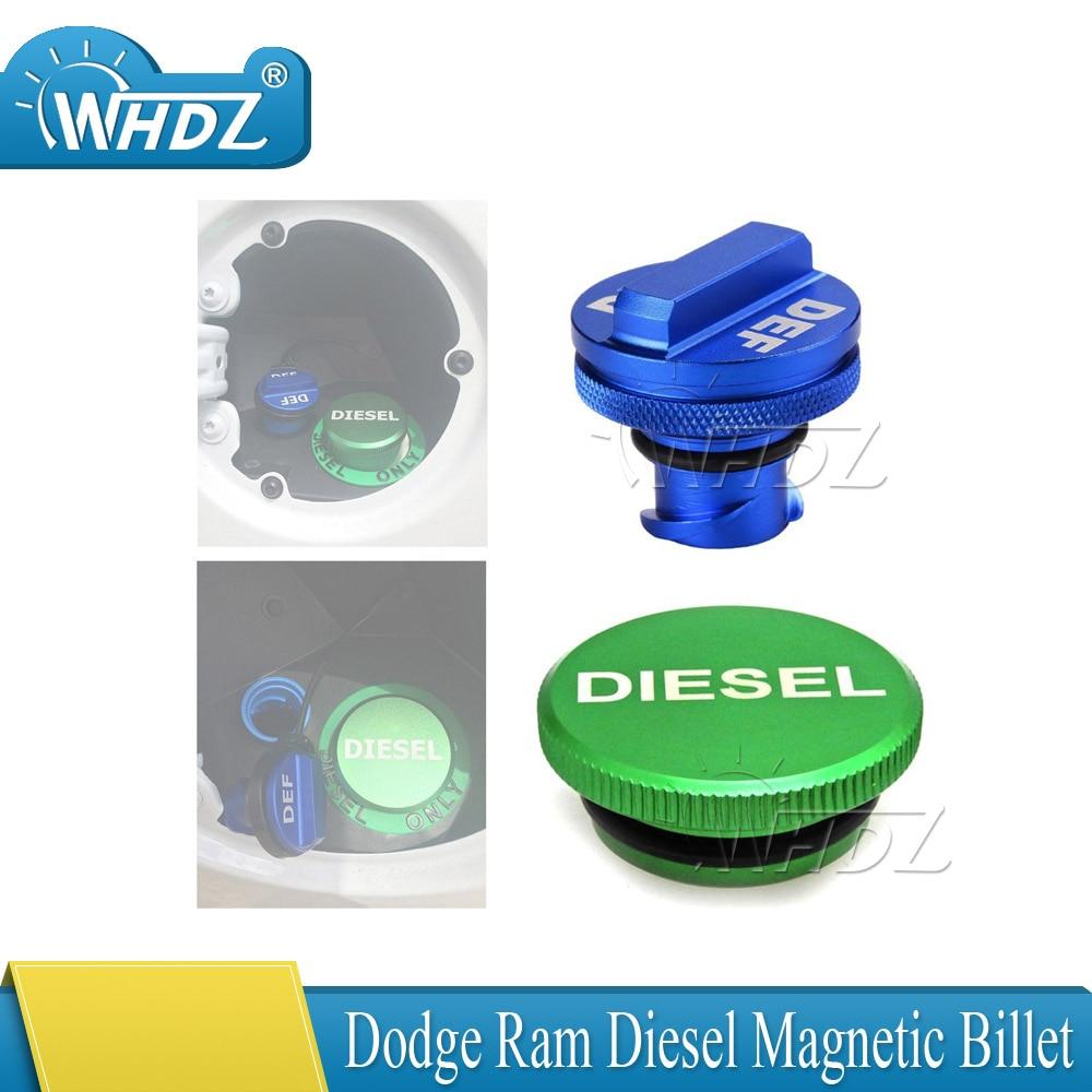 Diesel Billet Aluminum Fuel Cap Magnetic Green For 2013-2017 Dodge Ram Cummins
