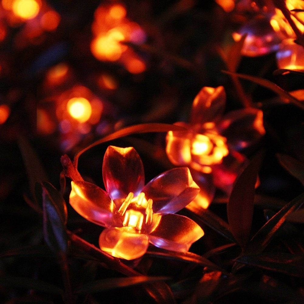 Red  Solar Party Decorations Flower  String Lights  Water Proof (Includes 30 LED Lights) (1)