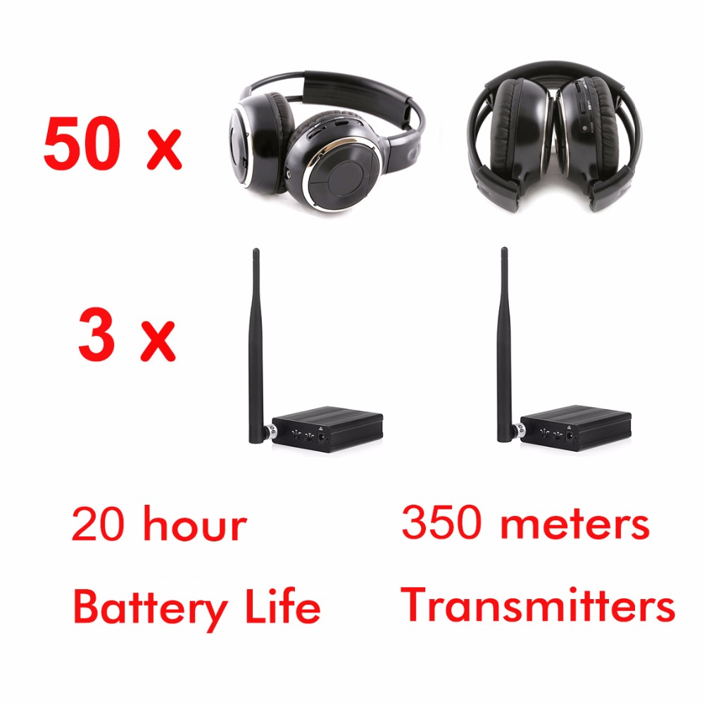 Silent Disco complete system black folding wireless headphones - Quiet Clubbing Party Bundle (50 Headphones + 3 Transmitters)