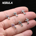 Real 925 Sterling Silver Vintage Cross Stud Earrings With CZ For Women Earrings Jewelry Thai Silver Leaves Earrings Faith