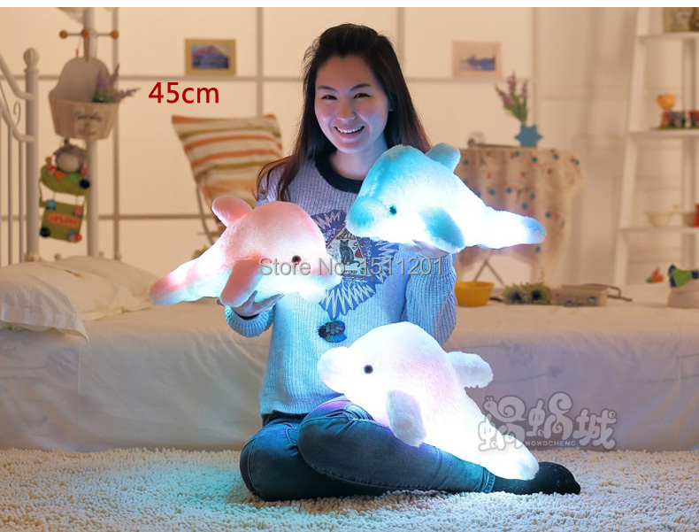 43cmCreative dolphin doll luminous luminous pillow, plush toys, colorful music doll birthday girl