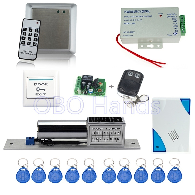 ФОТО Free shipping RFID access control system 8618A+electronic bolt lock +power supply+key fobs+door bell+exit button+remote