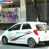 For KIA Picanto Morning Powered Sport Graphics Sticker Racing Styling Door Side Stripes Auto Body Decor Vinyl Decal