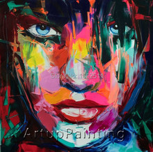 Francoise Nielly canvas painting caudros decoracion wall Art pictures for living room Palette knife portrait Face Oil painting14