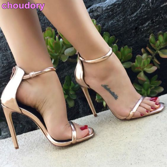 Women New Street Style Rose Gold Gladiator Sandals Stiletto Heels Line Stylish Dress Shoes Buckle Strap Party Shoes Girl's Pumps street style stylish buckle embellished multi way black canvas backpack for women