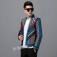 Цветной вязаный свитер мужской блейзер Slim Fit для сцены вечерние Клубные Дизайнерская куртка для мужчин DJ хост Мужской Блейзер Куртка