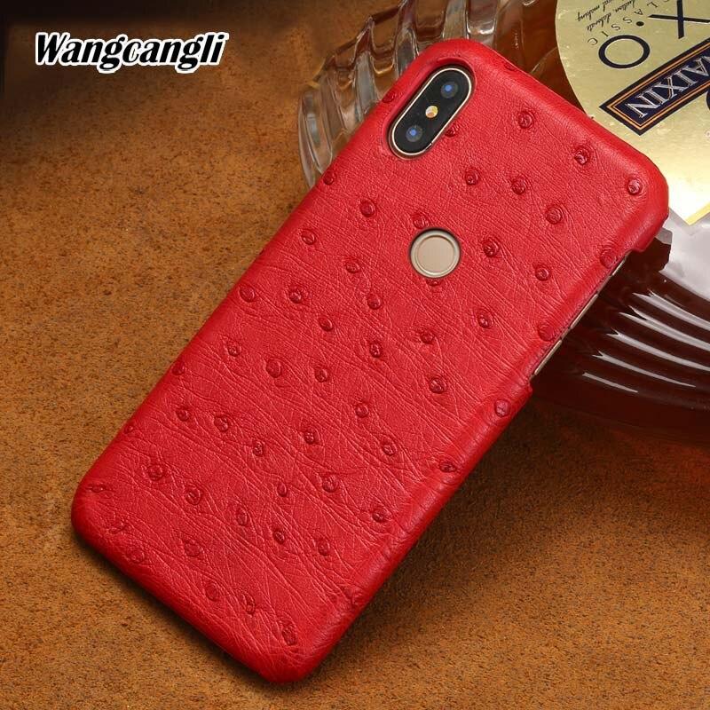 Autruche peau cas de téléphone pour xiaomi redmi note 5 cas demi-paquet de cas de téléphone En Cuir Véritable protection cas Arrière d'empreintes digitales style
