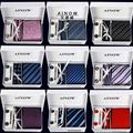 Presente Do Dia dos pais Laços Dos Homens do Sexo Masculino Conjuntos Tie Cufflink Lenço Gravata Tecido Jacquard Laços de Casamento para Homens Ternos de Negócio