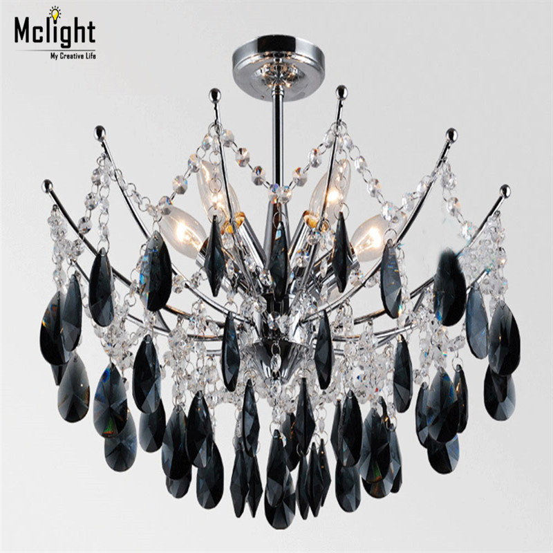 NEW modern crystal chandelier font b lighting b font for foyer Modern Black Or Clear Crystal