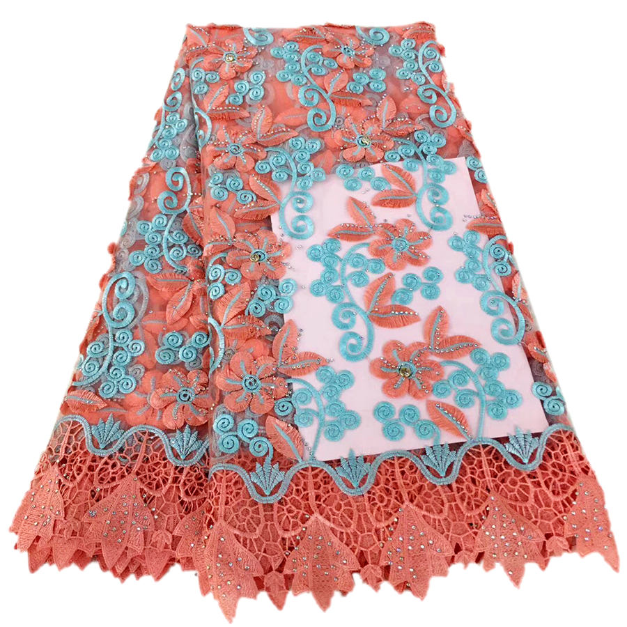 french lace fabric 2018 african fabric nigerian lace high quality 3d flower stone fabric bridal lace fabric 5yard/lot