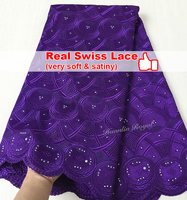 Plain Royal Blue Real Swiss Lace African Fabric Silk Mix Cotton Lace Very Soft High Quality