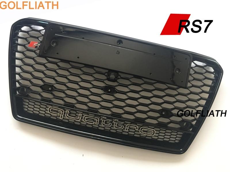 GOLFLIATH RS7 Voiture-Styling ABS Pare-chocs Avant Grille center Grill quattro Pour Audi A7 et S7 et RS7 2011-2014