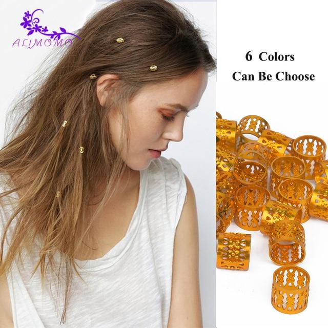High Quality (100+5) Pcs/Lot Gold Hair Beads Dreadlock Rings Braid Cuffs Adjustable Hair Rings 9mm*8.5mm Micro Ring For Braids