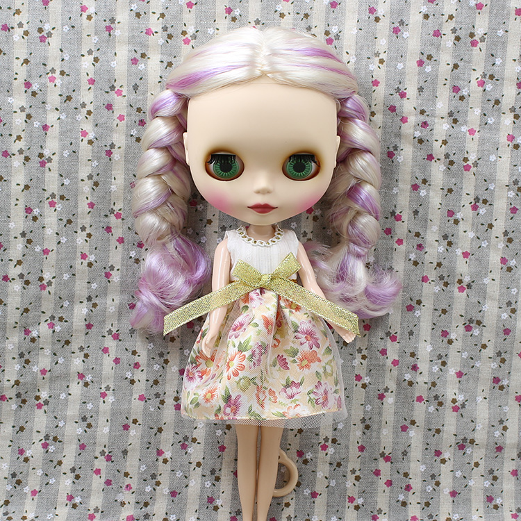 Free shipping Nude factory Blyth Doll 230BL21376025 PURPLE MIX GOLDEN white hair normal body matte face 1/6 toy gift цена