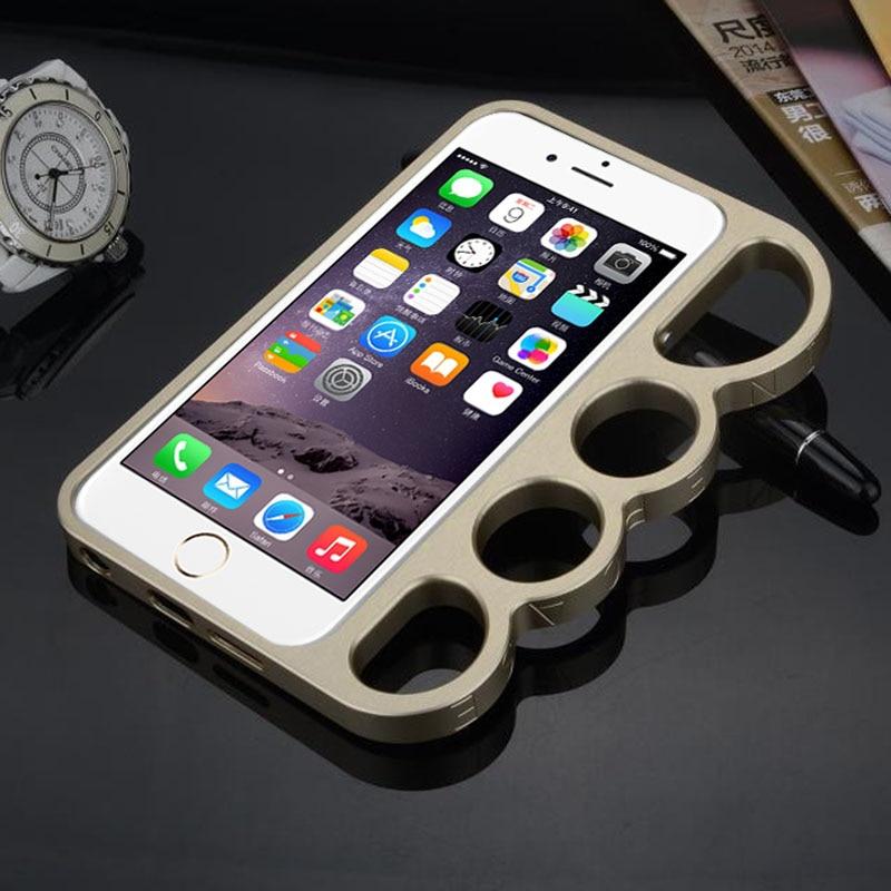imágenes para Metálico de latón knuckle anillos de autodefensa de parachoques del capítulo para iphone 5 5s se nuevo creative defender case para apple 5s