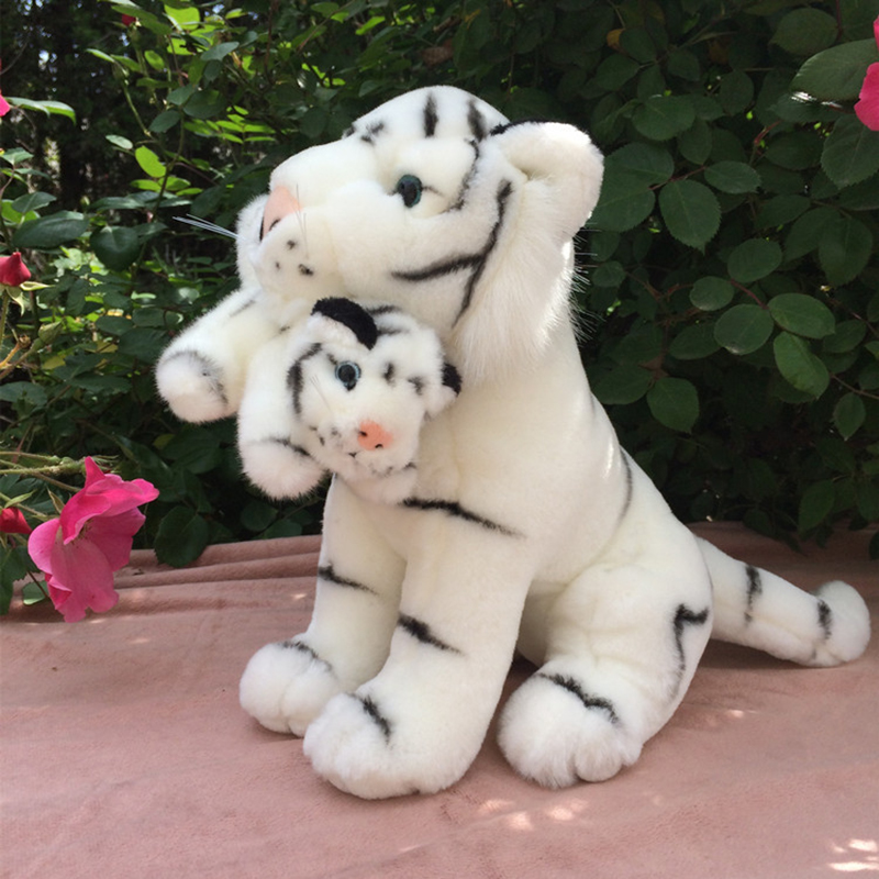 Plush Simulation White Tiger Dolls Parent-child Tiger Toys Gifts for Birthday Collection Stuffed Animal Tiger Toys stuffed big animal plush tiger toy simulation tiger doll birthday gift 85cm
