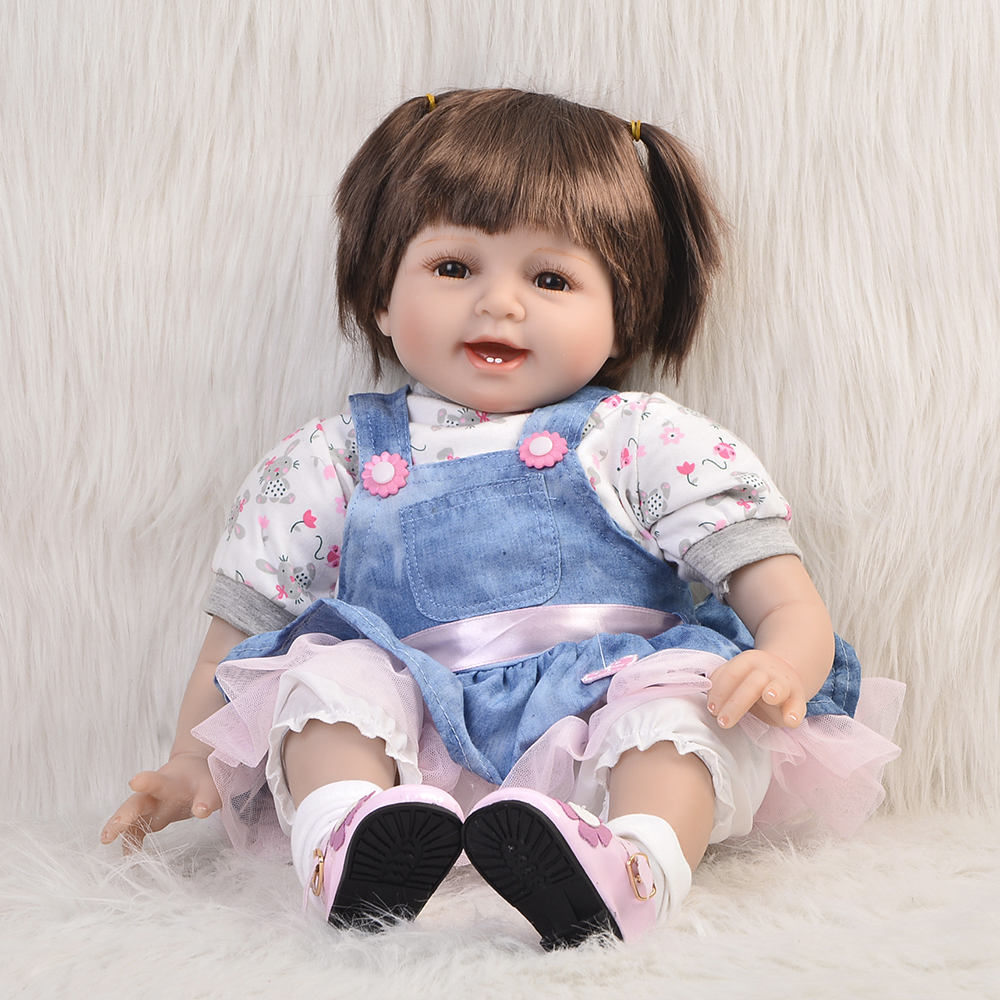 цена Vivid Smiling Baby 22'' Soft Silicone Reborn Dolls For Sale with Cute Baby Clothes Girls Doll Toy Kids Festival Christmas Gift онлайн в 2017 году