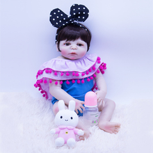 Silicone bathing doll toy reborn baby dolls black hair girl Realistic bebes reborn doll Non-toxic Fake vinyl baby for boys gift