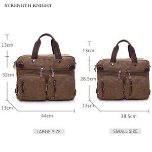 Image 2 - Retro Men Canvas Bag Leather Briefcase Travel Suitcase Messenger Shoulder Tote Back Handbag Large Casual Business Laptop Pocket