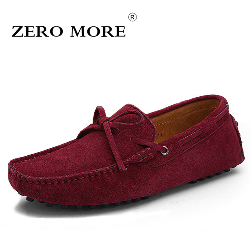 US $26.89 40% OFF|ZERO MORE Slip On Shoes Men Knot Suede Split Leather 2018 Moccasins Mens Shoes Casual Tassel Boat Loafers Fashion Big Sizes in Men's