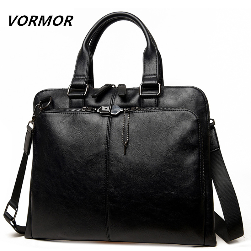 VORMOR Brand Men Bag Casual Men's Briefcase 14 Inch Laptop Handbag Shoulder Bag PU Leather Men's Office Bags 2019