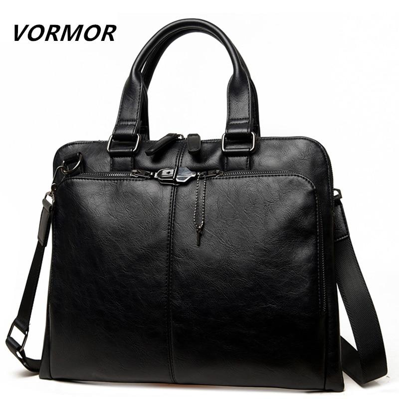 VORMOR Brand Men Bag Casual Men's Briefcase 14 Inch Laptop Handbag Shoulder Bag PU Leather Men's Office Bags 2019