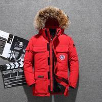 Russia Winter jacket men fur collar coat Waterproof white duck down jacket men windbreaker man snow overcoat 30 degree