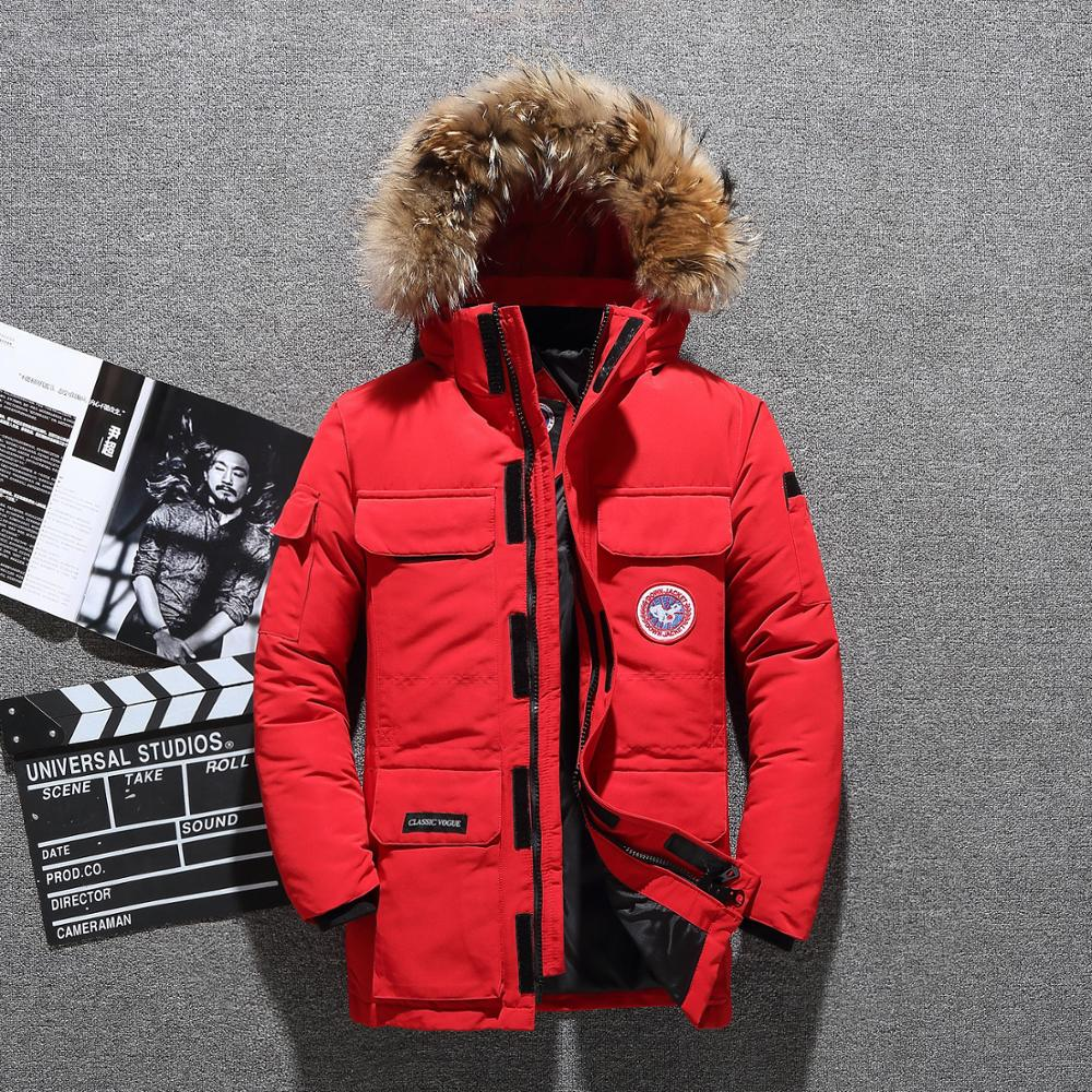 Russia Winter Jacket Men Fur Collar Coat Waterproof Canada White Duck Down Jacket Men Windbreaker Man Snow Overcoat -30 Degree