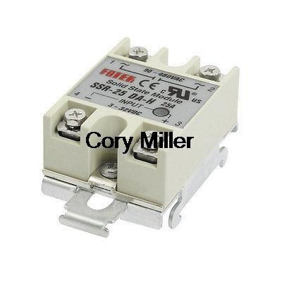 25A Gray Metal Base Solid State Relay DIN Rail Mount SSR-25DA-H Input DC 3-32V normally open single phase solid state relay ssr mgr 1 d48120 120a control dc ac 24 480v