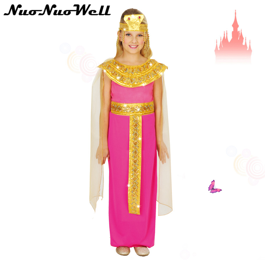 Holiday Cosplay Costume Party Girls Play Dress Photography Dress Pink Princess Dress of Egypt Children Clothes