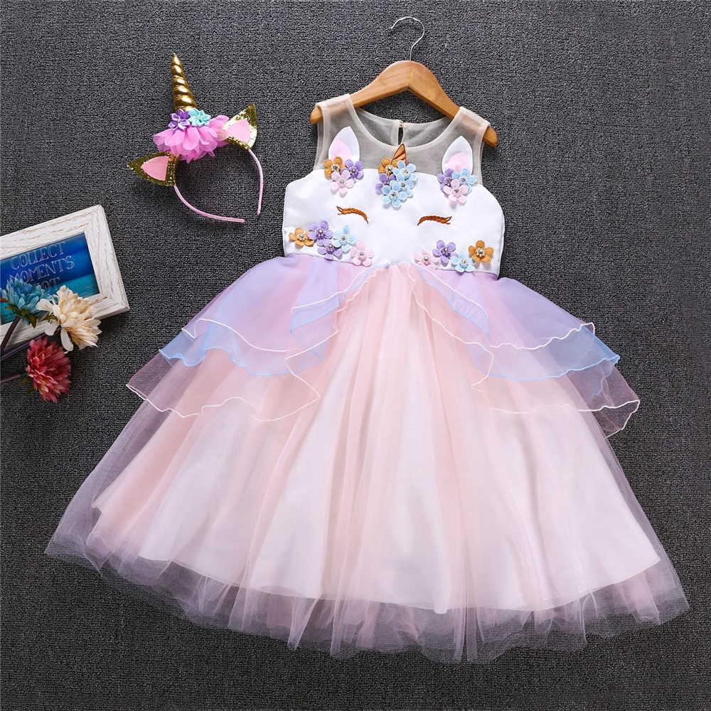 99a475d28dc5 ... Unicorn Party Princess Dress Birthday Girl Unicorn Dress My Little Girls  Pony Floral Fluffy Communion Dresses ...