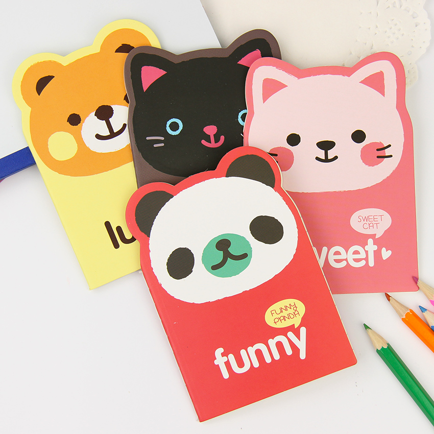 Корейские животные панда кошка Медведь Kawaii Мини блокнот милый блокнот мультфильм записная книжка маленькие канцелярские принадлежности д...