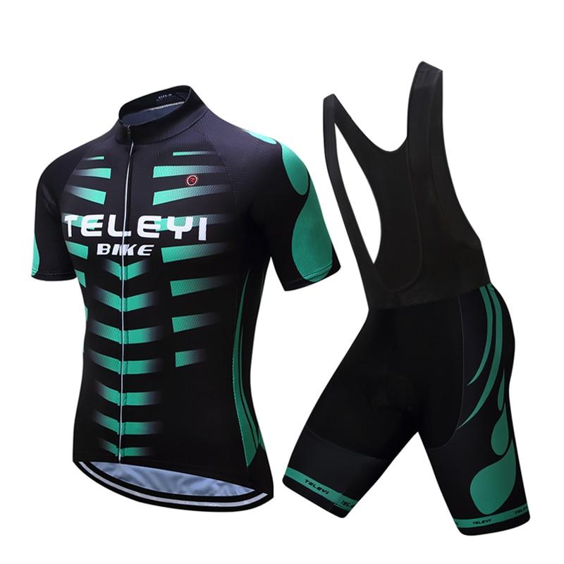 TELEYI Men Summer Short Sleeve China Pro Team Road Bike Clothing Gel Pad Shorts Sets Maillot Cycling Jersey Bicycle Clothes Kits