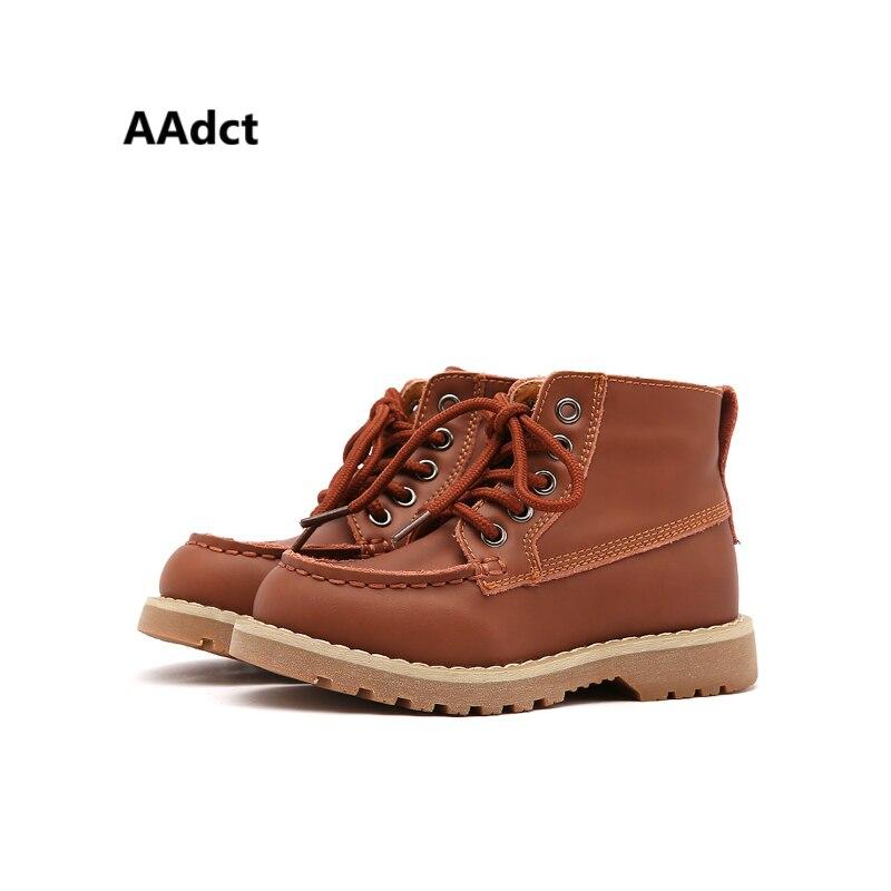 AAdct новые теплые модные Мартин мальчиков зимние сапоги удобная детская обувь высокого качества из натуральной кожи детские сапоги