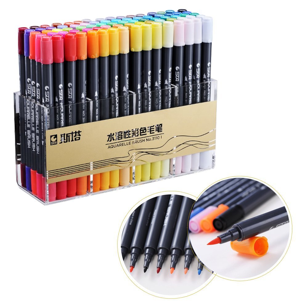STA Brush Marker Pens 80 Colors Art Sketch Marker Sets Watercolour Based Nontoxic For Artists Professional Painting ,K promotion touchfive 80 color art marker set fatty alcoholic dual headed artist sketch markers pen student standard