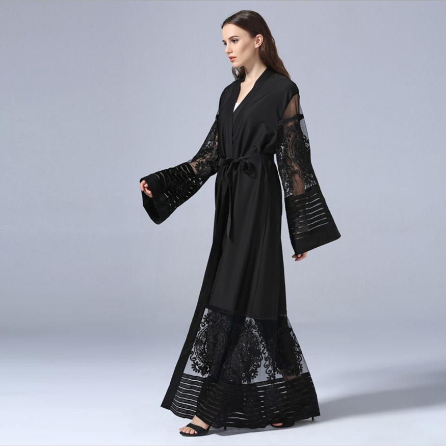 Fashion Muslim Adult Lace Hollow Cut Robe Musulmane Turkish Dubai Abaya Muslim Robe Arab Worship Service Abaya Wj1340 With Blet