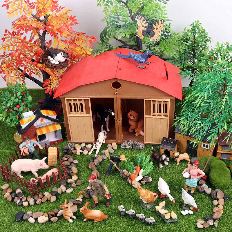 Oenux Simulation Farm Poultry Pig Rabbit Bird Animals Action Figures Tree Fence Lawn Garden Decoration Model Toy For Kid Gift