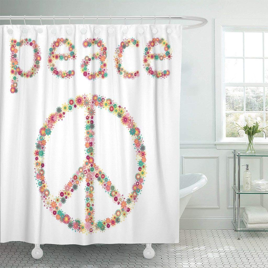 Us 15 73 41 Off Shower Curtain Hooks Floral Sign Peace Pacifism Symbol The Hippie Culture Love Abstract Antiwar Clip Decorative Bathroom In Shower