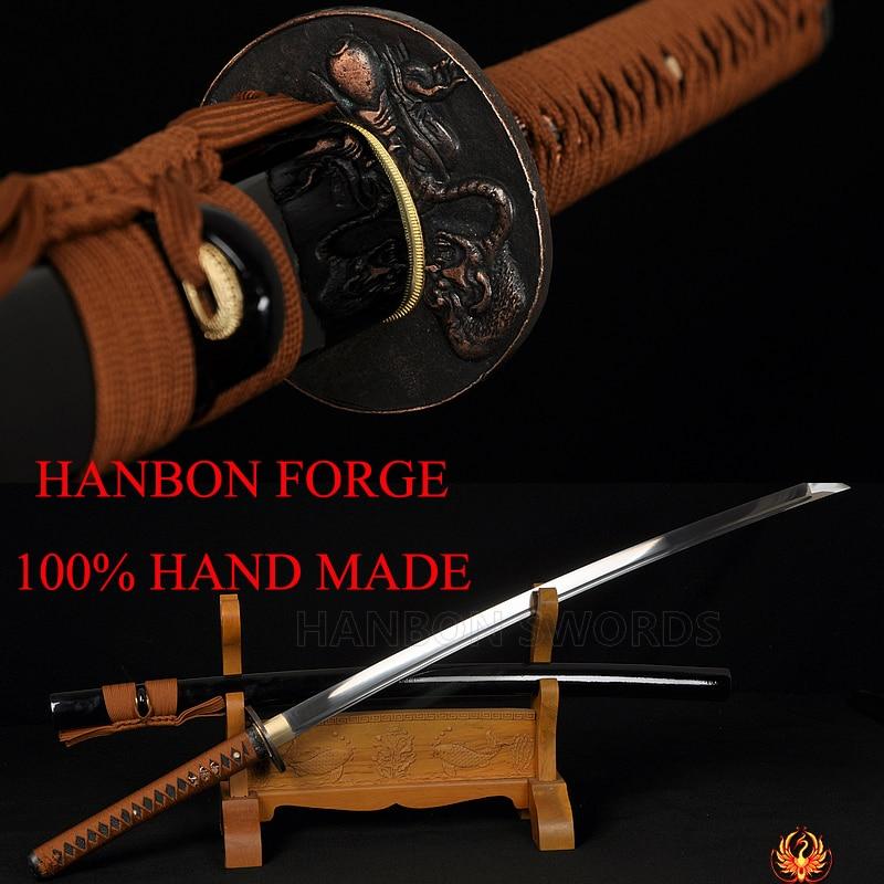 Carbon Steel Full Tang Japanese Samurai Functional Sword Katana Battle Ready Sharp Genuine Rayskin Hard Wooden Saya Alloy Tsuba