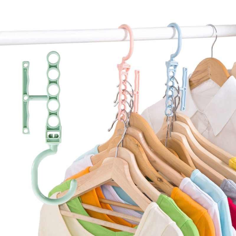 Hoomall Plastic 5 Circle Multilayer Windproof Clothes Hanger Organizer Fixed Holder Storage Racks Buckle Hanger Anti-Slip Home
