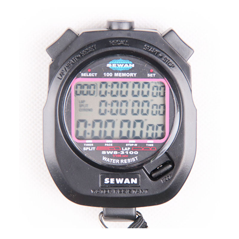 100 memory Electronic Stopwatch Digital timer Sports professional stop watch gym Metal interval timer referee chronograph