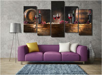 5 Pieces HD Printed Red Wine Painting Modern Canvas Painting Wall Art Without Frame For The