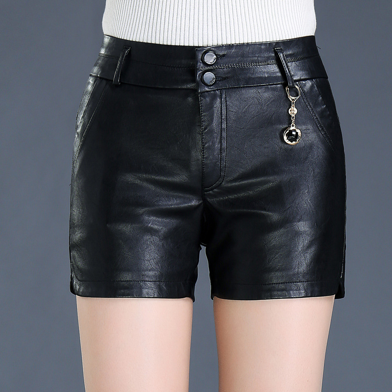 New Winter PU Leather Shorts Women Boots Skinny Mid Waist Fashion Shorts Female Leather Shorts Plus Size 8XL Black Mujer MZ2825