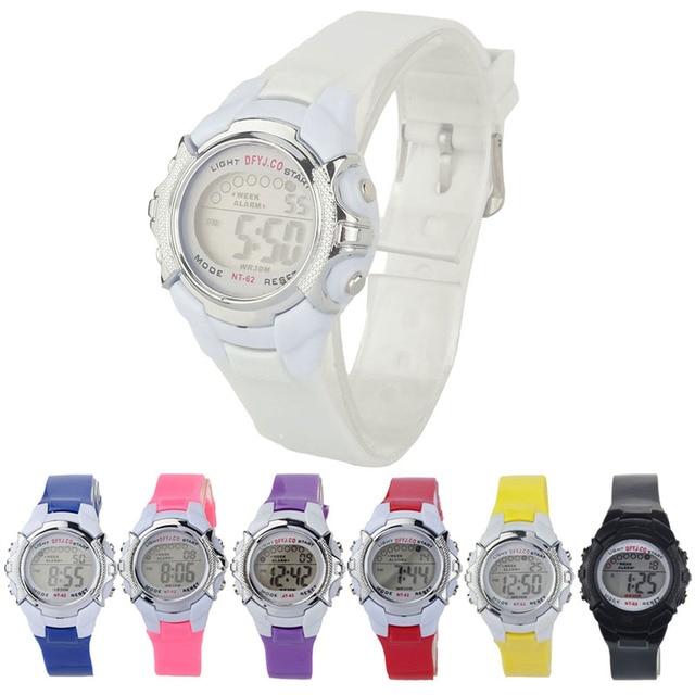 Fashion Children Digital LED Quartz Alarm Date Sports Wrist Watch relogio femini