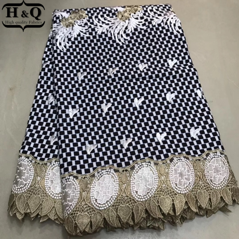 H&Q High Quality African wax Lace Fabric 6 Yards Dutch Wax Prints Fabric With Embroidery Nigerian Guipure Wax Lace For DressH&Q High Quality African wax Lace Fabric 6 Yards Dutch Wax Prints Fabric With Embroidery Nigerian Guipure Wax Lace For Dress