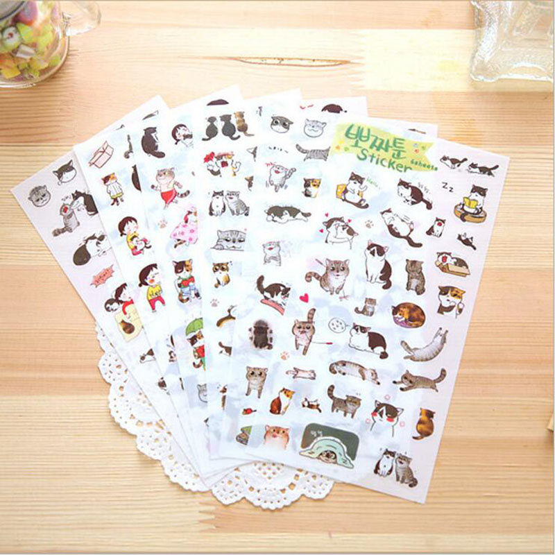 6pc / Bag, 3d Cartoon Cat Stickers Transparent Background Stickers / Diary Decorative Stickers / Children's Toys Stickers