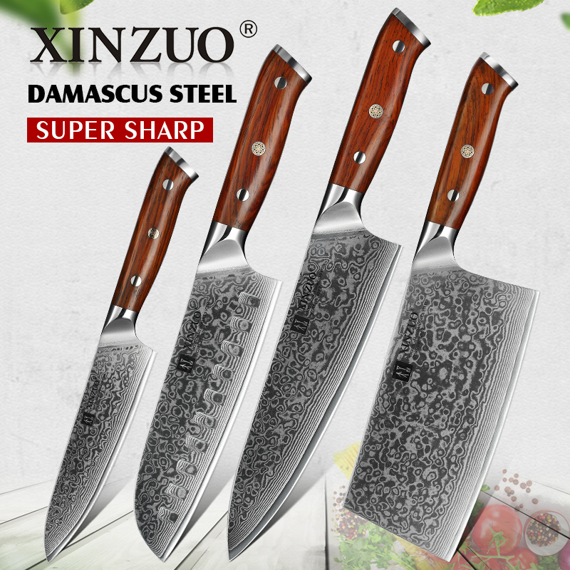 XINZUO 4PC Kitchen Knife Sets vg10 Core Damascus Steel Chef Santoku Utility Cleaver Knives Stainless Steel