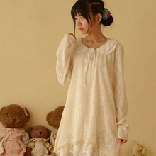 Japanese Spring Women's Lace Peter Pan Collar Long Sleeve Sweet Medium Princess Laciness Cute Lovely Lolita Dress Mori Girl C208