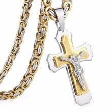 Multilayer Cross Christ Jesus Pendant Necklace Stainless Steel Link Byzantine Chain Heavy Men Jewelry
