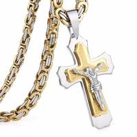 Multilayer Cross Christan Jesus Pendant Necklace Stainless Steel 21 65 6mm Link Byzantine Chain Heavy Men